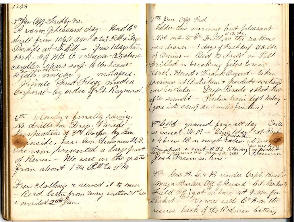 Henry S. Robinson Diary, January 5th -9th 1863