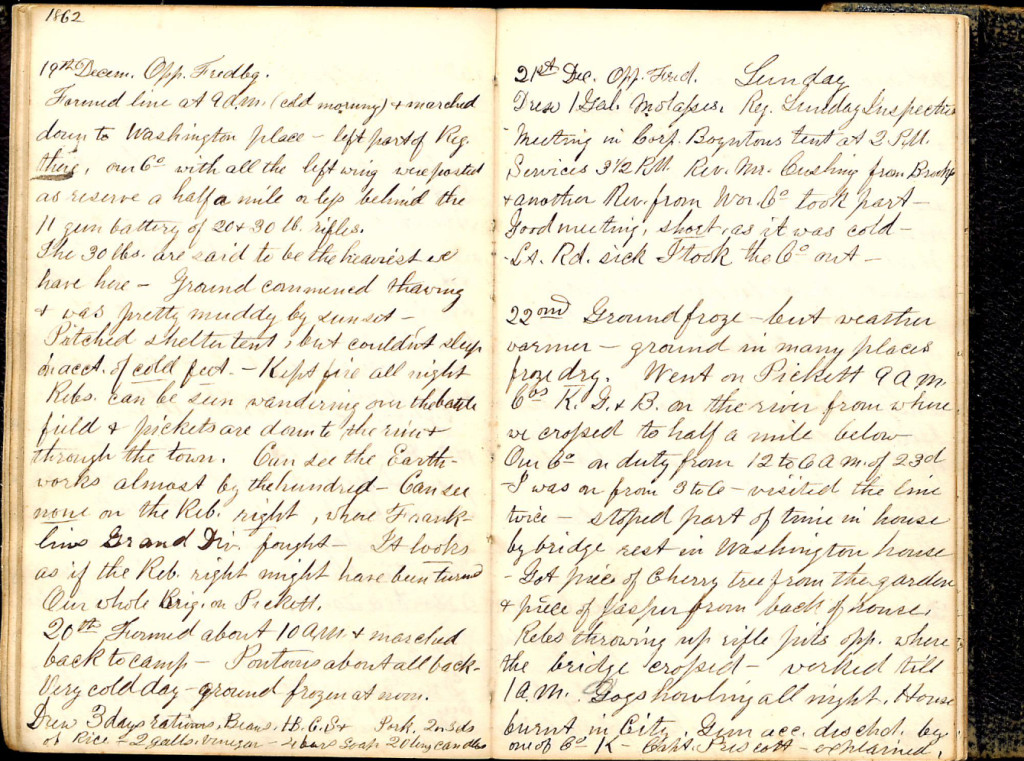 Henry S. Robinson Diary, December 19th-22nd 1862