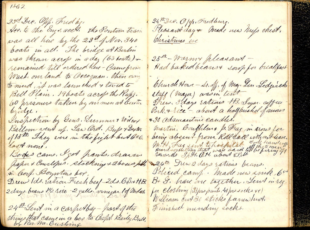 Henry S. Robinson Diary, December 23rd-26th 1862
