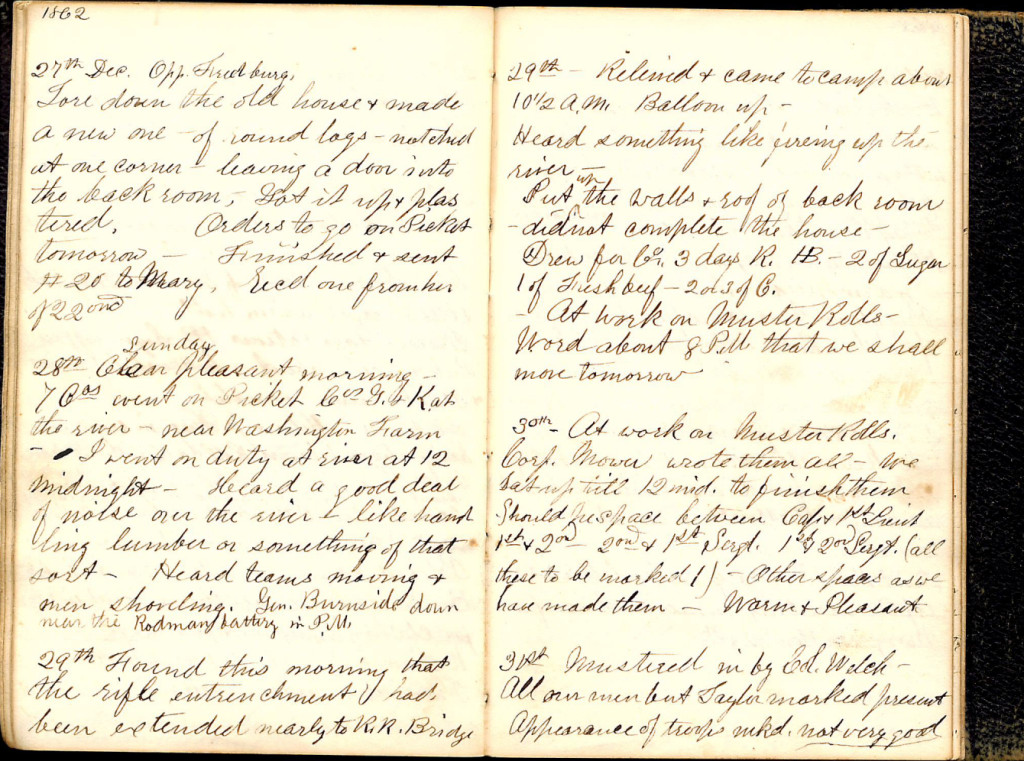 Henry S. Robinson Diary, December 27th- 31st 1862
