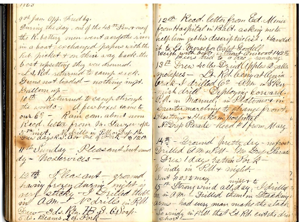 Henry S. Robinson Diary, January 9th-18th 1863