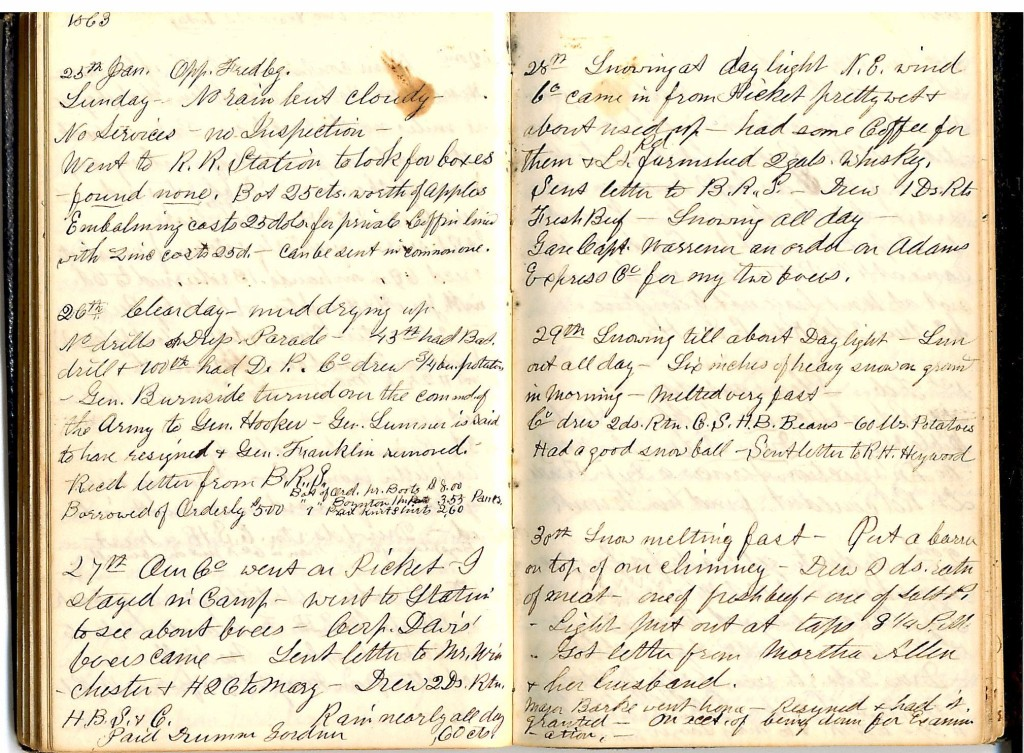 Henry S. Robinson Diary, January 25th-30th 1863