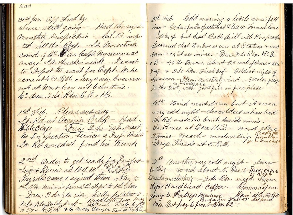 Henry S. Robinson Diary, January 31st-February 5th 1863